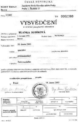 Státní speciální překladatelská zkouška složená roku 2005