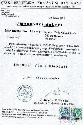Jmenování soudním překladatelem pro jazyk francouzský, r. 2005